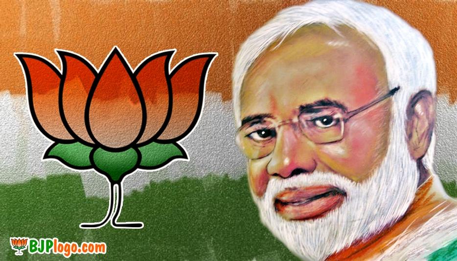 Modi with Bjp Logo