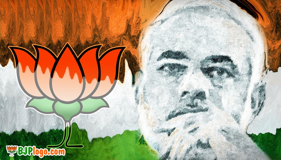 Narendra Modi with Bjp Logo